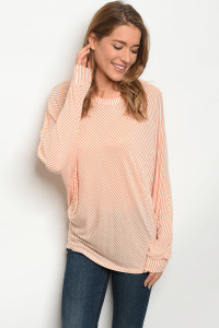 C58-B-6-T2758BTS ORANGE WHITE STRIPES TOP 2-2-2