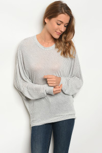 C58-B-6-T2758BTS GREY WHITE STRIPES TOP 2-2-2