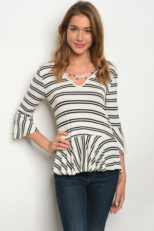 C62-B-2-T3016EB8 IVORY BLACK STRIPES TOP 2-2-2