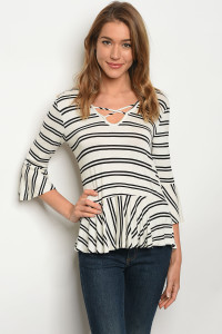 C51-B-1-T3016EB8 IVORY BLACK STRIPES TOP 1-2-2