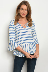 C62-B-2-T3016EB8 IVORY BLUE STRIPES TOP 2-2-2
