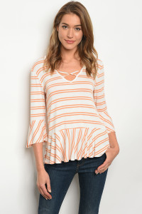 C62-B-2-T3016EB8 IVORY ORANGE STRIPES TOP 2-2-2
