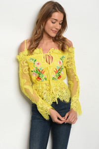 103-6-3-T09316 YELLOW FLORAL TOP 3-1-1