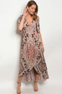 SA4-5-3-NA-D70324 TAUPE MULTY FLORAL DRESS 2-2-2