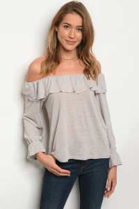 240-2-3-NA-T75103 GREY OFF SHOULDERS TOP 3-2-1