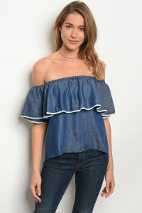 136-3-5-NA-T61556 DENIM BLUE OFF SHOULDERS TOP 2-2-2