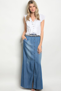 130-3-2-S95793 LIGHT BLUE DENIM SKIRT 1-3-2