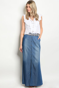 128-2-3-S95793 DARK BLUE DENIM SKIRT 2-2-2