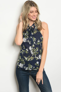 120-2-2-TRP9314 NAVY FLORAL TOP 2-2-2
