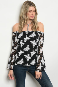 120-3-2-T118 BLACK WHITE BUTTERYFLY PRINT TOP 3-2-1