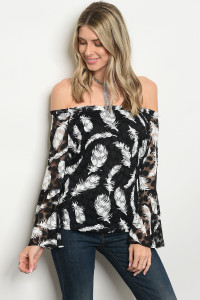 132-1-2-T118 BLACK WHITE FEATHER PRINT TOP / 3PCS