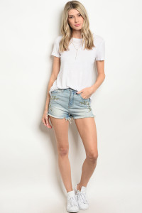 S12-5-3-S45514 LIGHT BLUE DENIM SHORTS 1-1-2-3-1-1