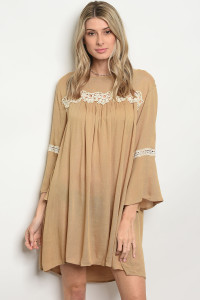 120-3-2-D3349 TAUPE DRESS / 3PCS