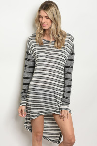 134-2-1-D3604 GRAY STRIPES DRESS 2-3