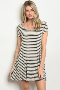 C14-A-3-D5012 OATMEAL BLACK STRIPES DRESS 2-2-2