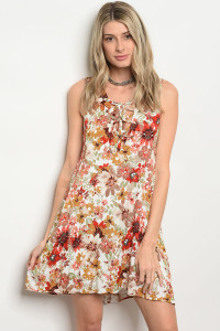 C13-A-1-D40085 OFF WHITE FLORAL DRESS 1-2