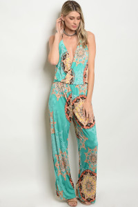 C18-A-5-J1102 GREEN MULTI JUMPSUIT 2-2-2