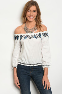 131-1-4-T02705 OFF WHITE BLUE TOP 2-2-2