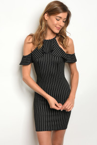 C31-A-1-D3023 BLACK STRIPES DRESS 2-3-1