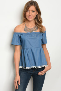C29-B-3-T08893 LIGHT DENIM TOP 2-2-2