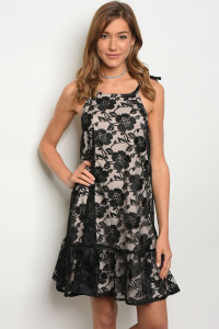 131-1-2-D1064 BLACK NUDE DRESS 4-2