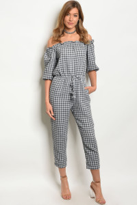 105-2-4-J1354 GRAY WHITE CHECKERED JUMPSUIT 3-2-1