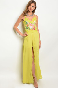 131-1-2-R05122 LIME WITH FLOWER PRINT ROMPER 2-3-3
