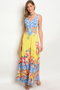 132-3-2-D02688 YELLOW FLORAL DRESS 2-2-1