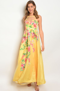 132-3-2-D06252 YELLOW FLORAL DRESS 1-1-1