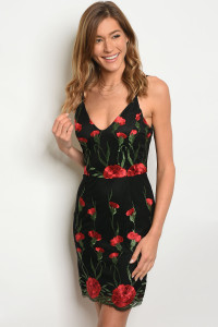 131-1-5-D02861 BLACK WITH FLOWER DRESS 2-1-1