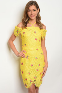 135-4-3-D06280 YELLOW WITH FLOWER PRINT DRESS 2-2-1