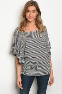 C22-B-3-T37451 BLACK IVORY STRIPES TOP 2-2-2