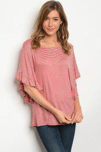 C22-B-2-T37451 RED IVORY STRIPES TOP 2-2-2