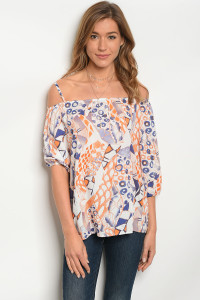 128-3-1-T1008 OFF WHITE ORANGE TOP 2-2-2