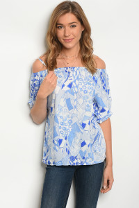 239-2-5-T1008 OFF WHITE BLUE TOP 2-2-2