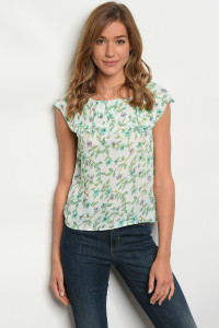 118-3-5-T5068 OFF WHITE GREEN FLORAL TOP 1-2-1
