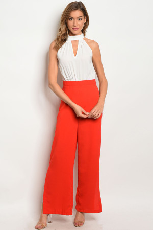117-2-2-R5417 RED WHITE JUMPSUIT 3-2-1