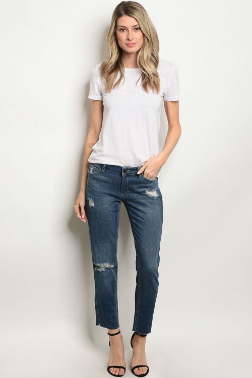 112-6-4-J843 MEDIUM BLUE DENIM JEANS 3-3-1-1-1-1-1