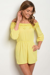 C91-A-7-R19013 YELLOW OFF SHOULDER ROMPERS 2-2-1