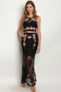 S3-5-5-SET09626 BLACK FLORAL TOP & SKIRT SET 2-2-2