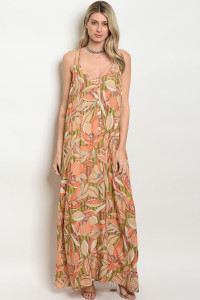 119-3-4-D102 TAUPE ORANGE DRESS 2-2-1