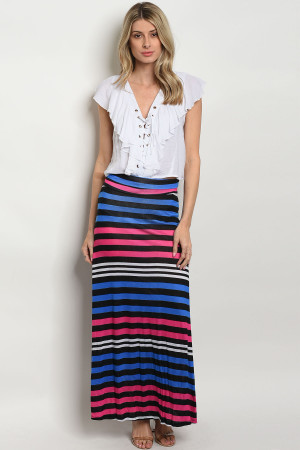 C65-A-1-S557 MULTI COLOR STRIPE SKIRT 3-2-1