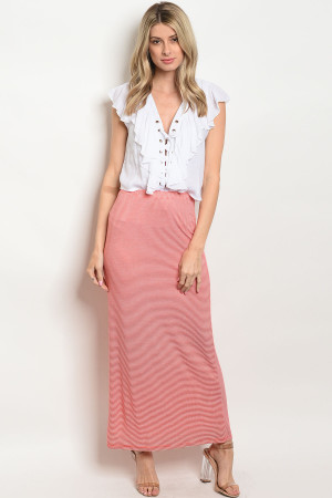 C65-A-1-S585 CORAL STRIPES SKIRT 1-3-1