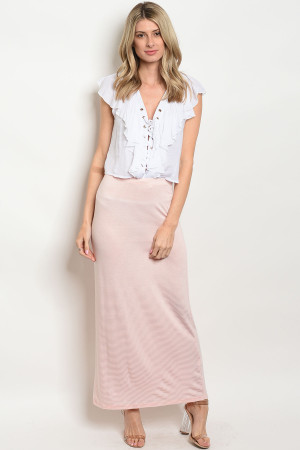 C73-A-3-S585 PEACH STRIPES SKIRT 2-2-2