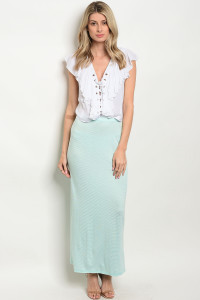 C73-A-3-S585 MINT STRIPES SKIRT 2-2-2