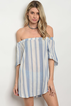 C59-A-1-T2158 BLUE WHITE STRIPES DRESS 3-3-2
