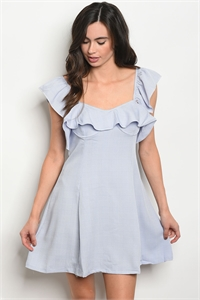 S10-12-5-D5073 BLUE IVORY RUFFLE DRESS 3-2-1