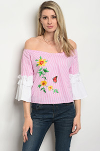127-1-4-T07577 PINK STRIPES TOP 2-2-2