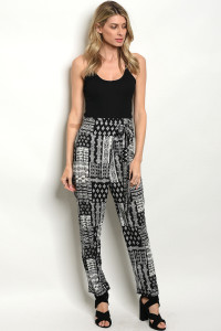S10-15-4-P732 BLACK WHITE PANTS 3-2-1