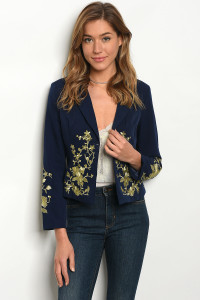 111-3-4-J09339 NAVY GOLD BLAZER 2-2-2